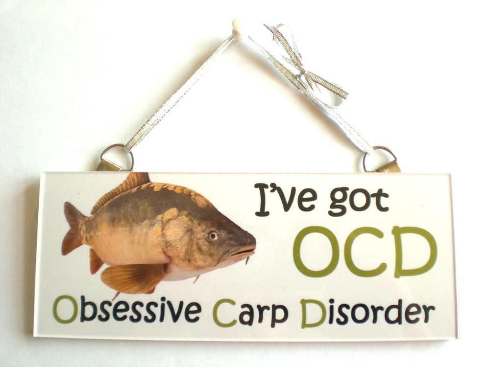 Ocd funny love carp fish plaque sign friend family gift for Funny fishing lures
