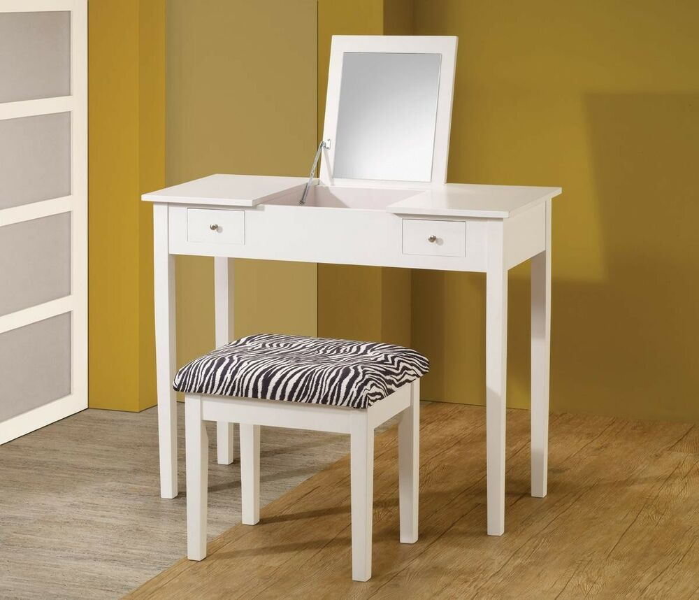 CONTEMPORARY WHITE VANITY WITH FLIP TOP MIRROR DRESSING