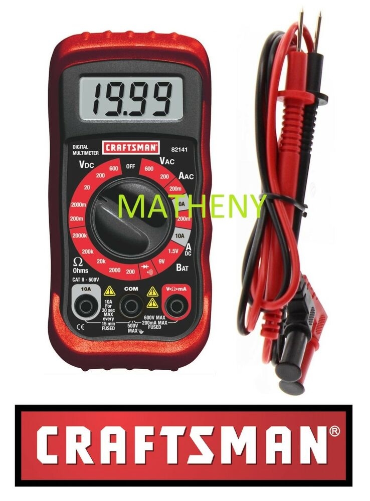 Craftsman Digital Multimeter : Craftsman digital multimeter volt ac dc tester meter