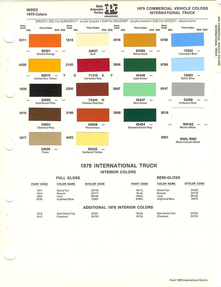 1979 international truck paint chips sheet ppg ebay for Ppg paint coupons