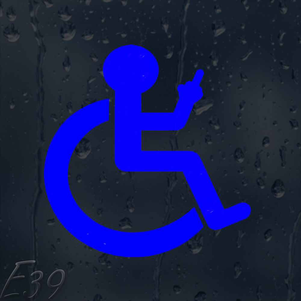 Funny wheelchair finger up car decal vinyl sticker for window bumper panel ebay