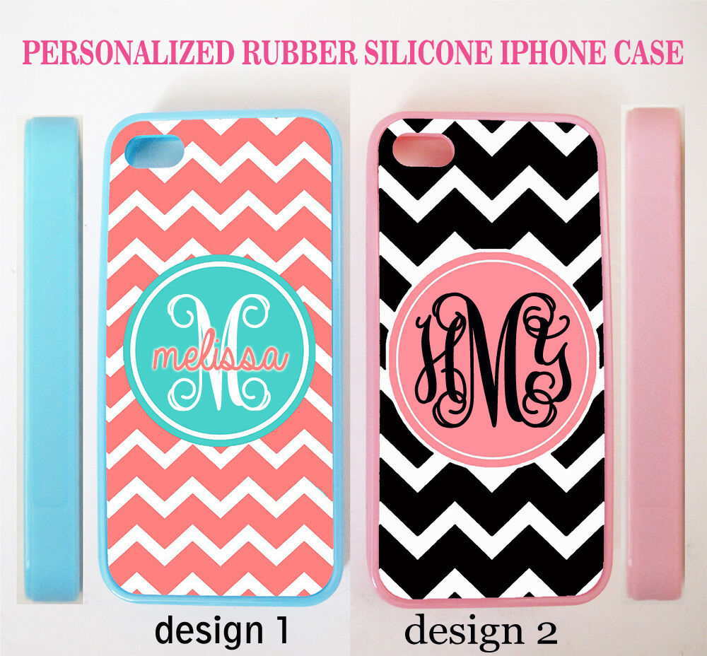 personalized teal pink black chevron monogram rubber case for iphone 7 6s 6 se 5