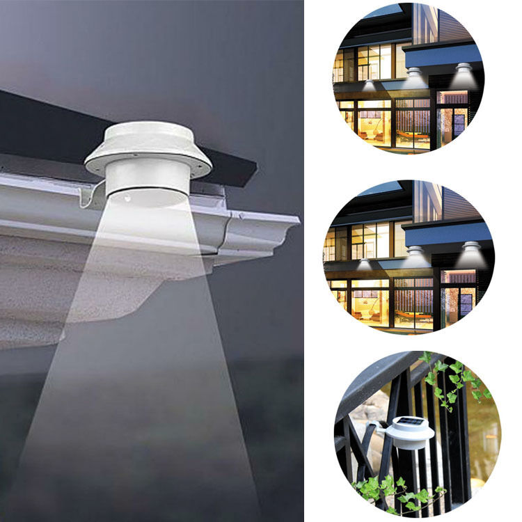 Solar power powered outdoor garden light gutter fence led for Fixture exterieur led