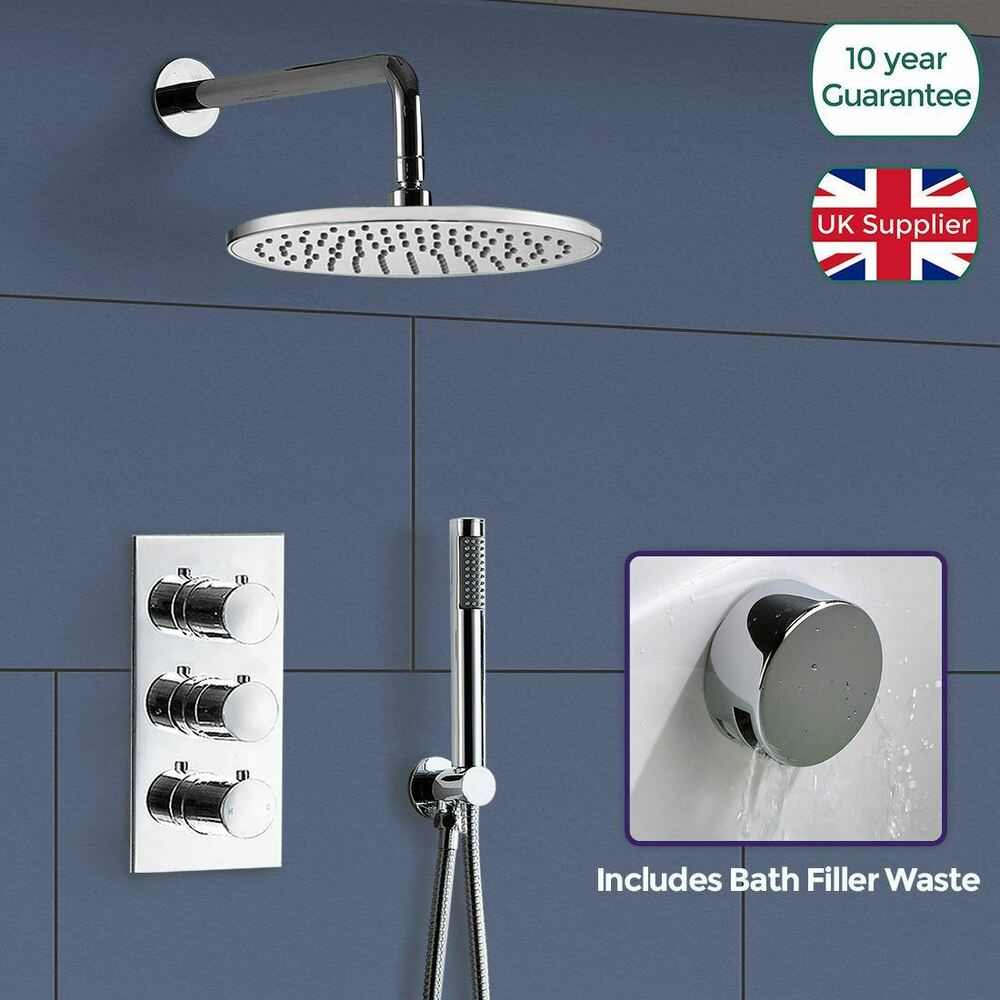 Lilly Round 3 Dial 3 Way Bathroom Concealed Thermostatic