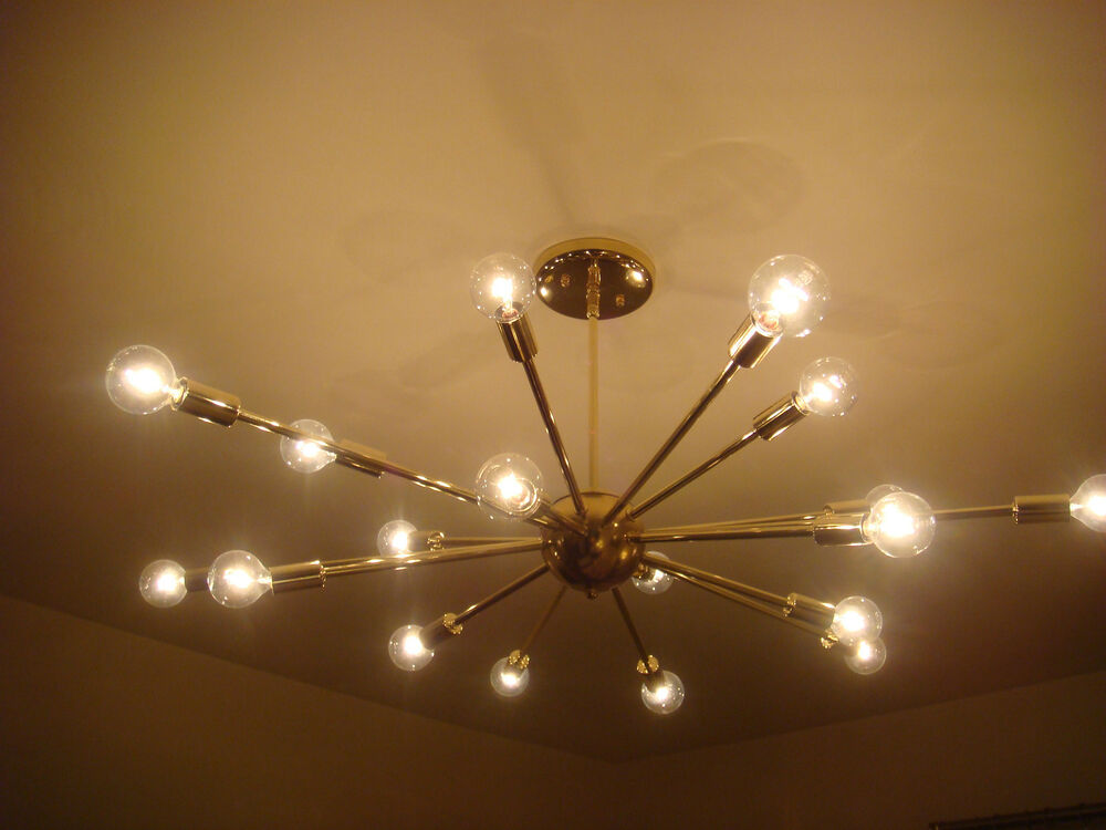 Polished brass atomic sputnik starburst light fixture chandelier ceiling lamp ebay - Ceiling lights and chandeliers ...