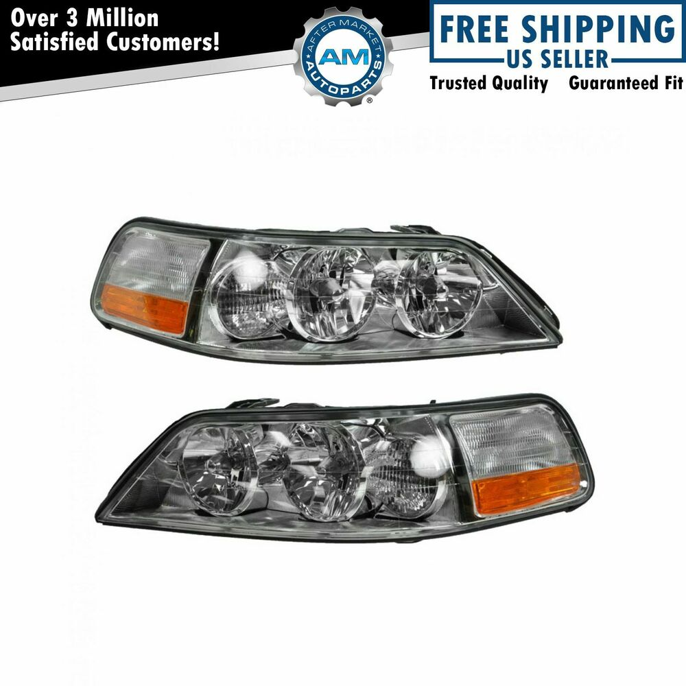 Headlights Headlamps Left Amp Right Pair Set New For 05 11 Lincoln Town Car Ebay
