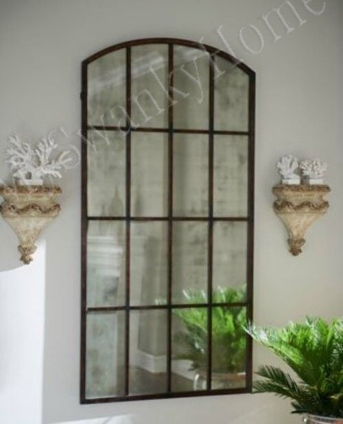 Extra Large Antiqued WINDOW Arch MIRROR Wall Leaner 82