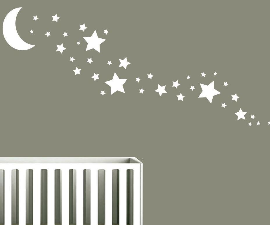 solid moon 35 star wall stickers nursery stars art any colour ebay. Black Bedroom Furniture Sets. Home Design Ideas