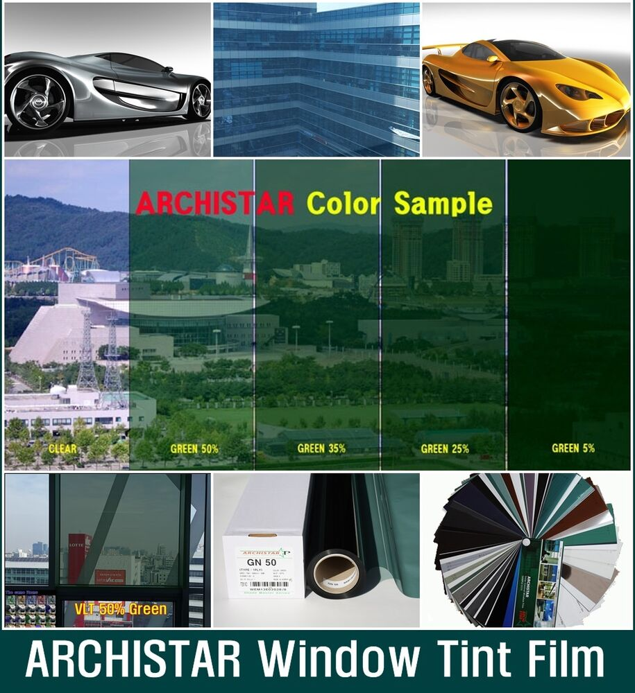 W 40 vlt 50 bright green solar film tint window glass for Window tint film
