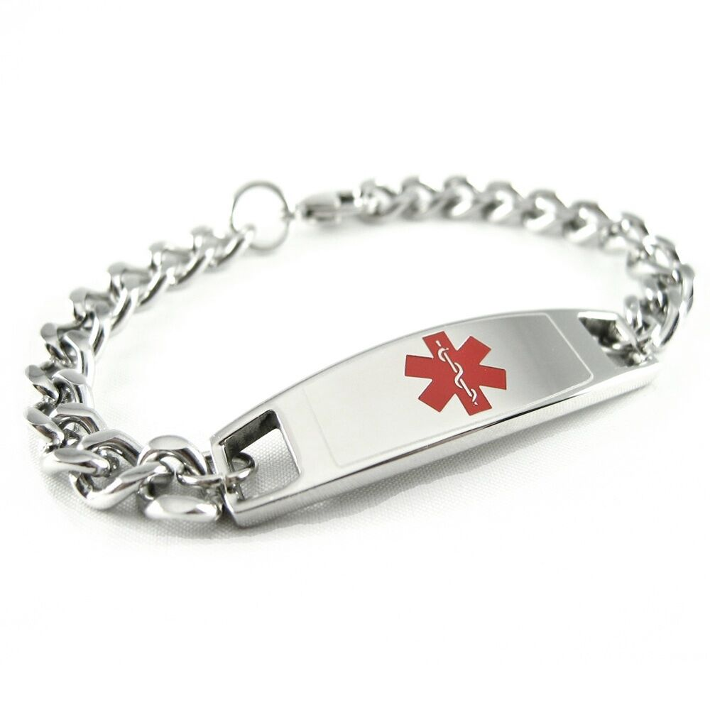 Medical Alert Id Bracelet Custom Engraved Tag Curb Chain