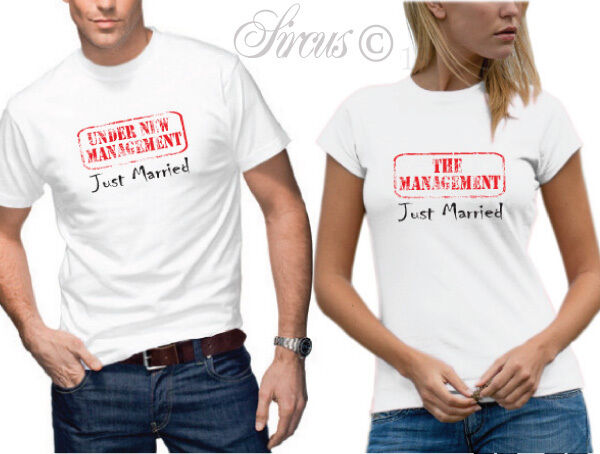 Under New Management Just Married T Shirt Set Fun Designer