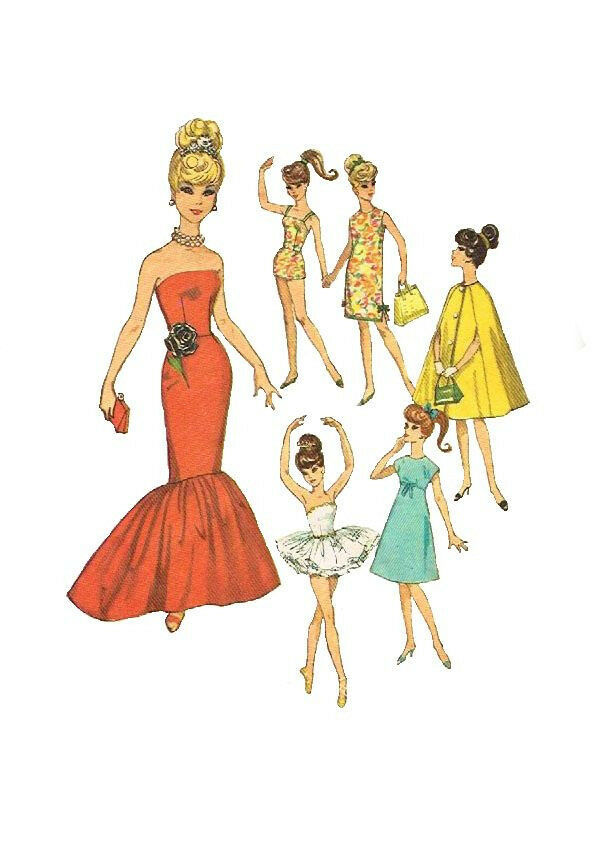 Vintage 11 1 2 inch Doll Clothes Sewing Patterns Barbie etc Simplicity ...