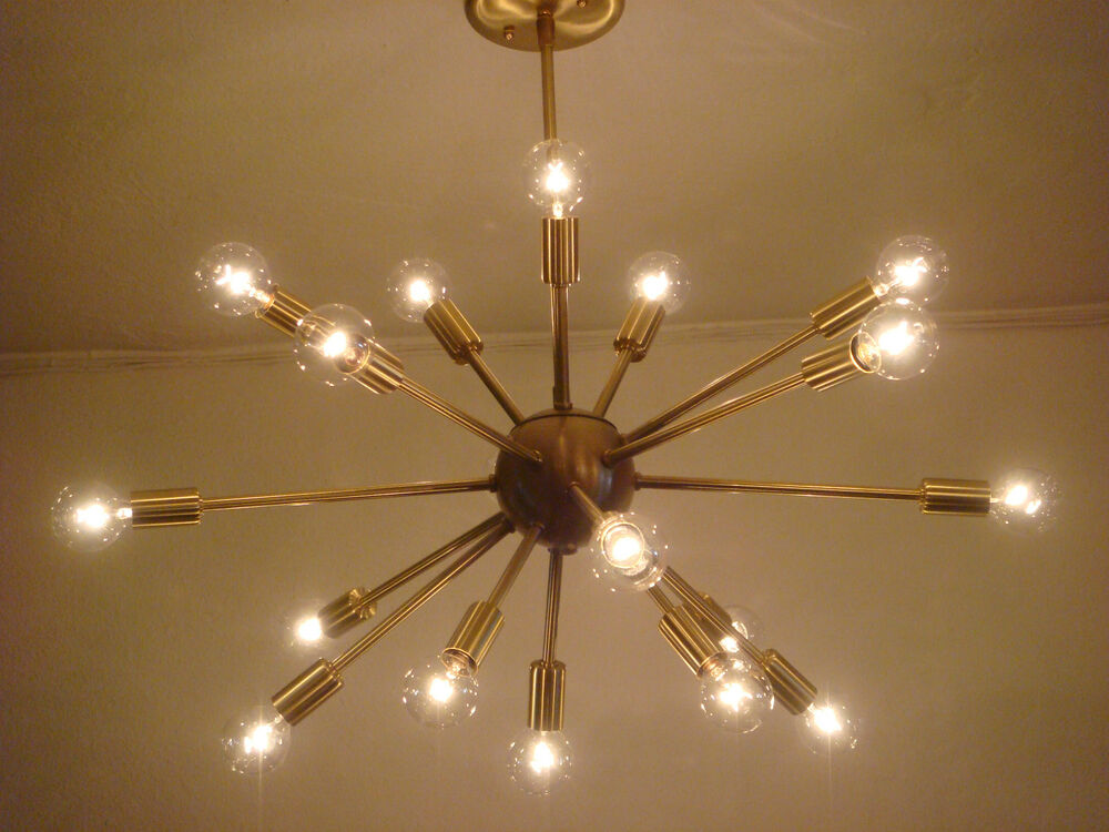 sputnik starburst light fixture chandelier lamp satin brushed brass 24u0026034 18 arms - Starburst Chandelier