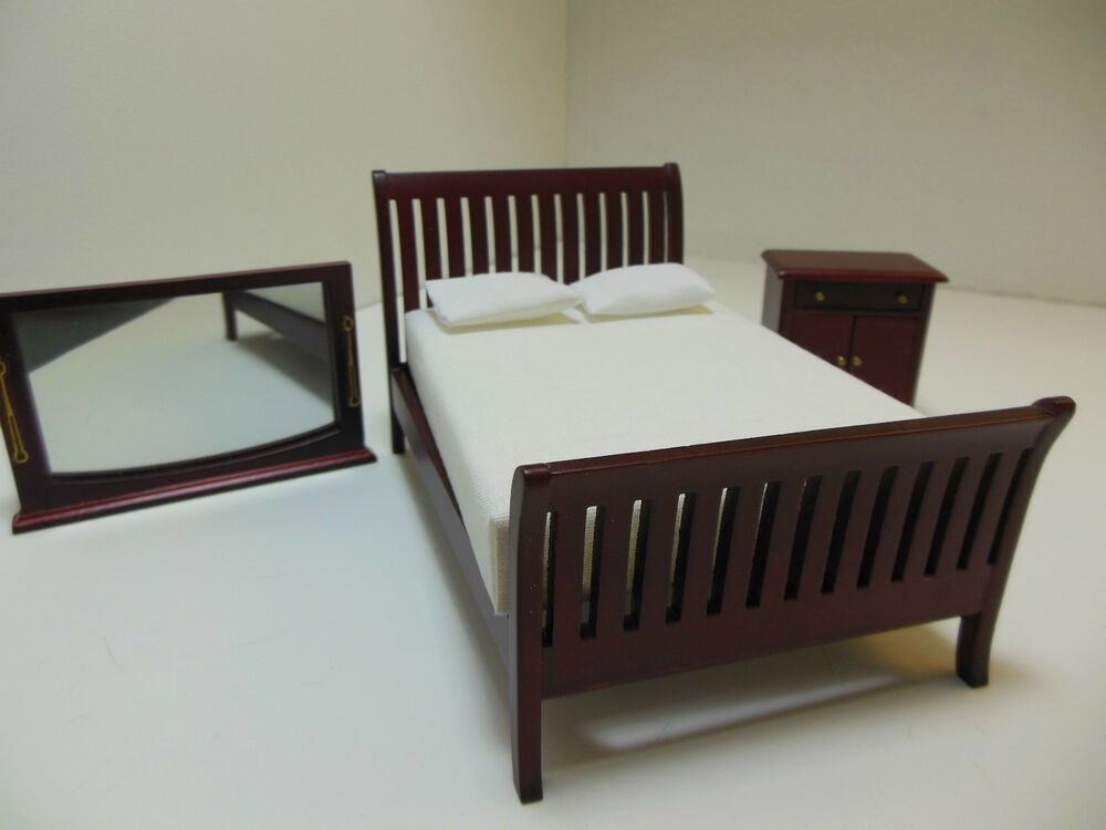 dollhouse miniatures furniture 1 12 12070mh three piece bedroom set
