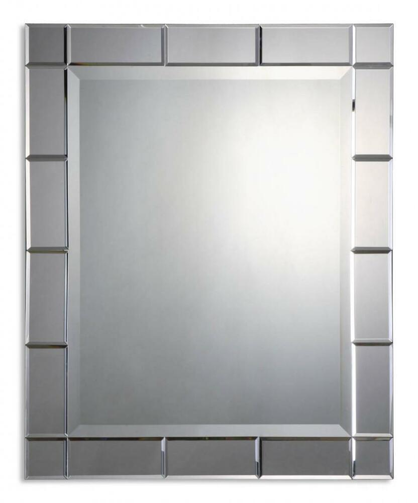 Large 33 glass framed vanity mirror frameless boutique for Large vanity mirror