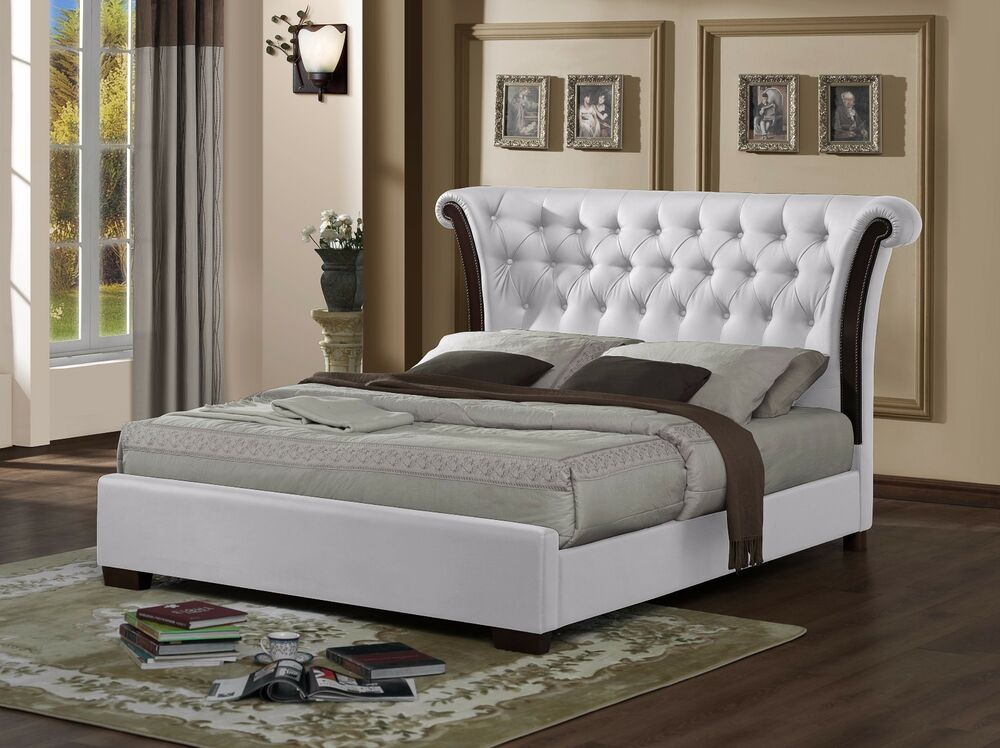 white luxurious chesterfield faux leather rolltop 5ft kingsize bed frame ebay. Black Bedroom Furniture Sets. Home Design Ideas