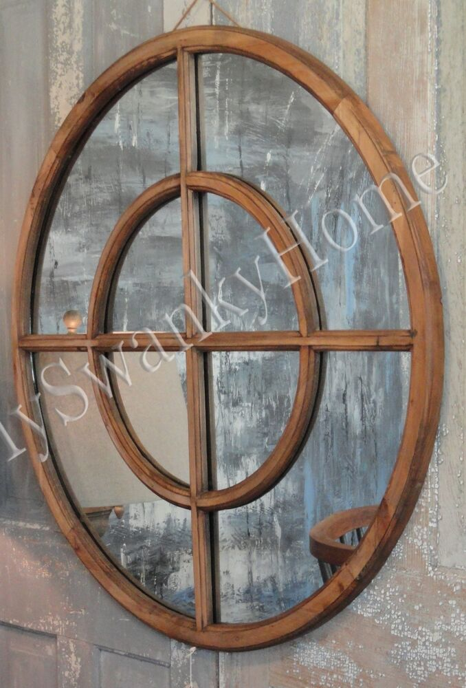 Cottage 37 Reclaimed Wood Round Window Wall Mirror