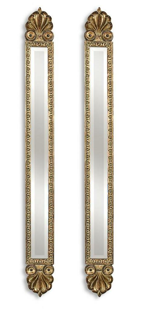 Extra long tall 60 baroque slim gold mirrors set of 2 for Tall slim mirror