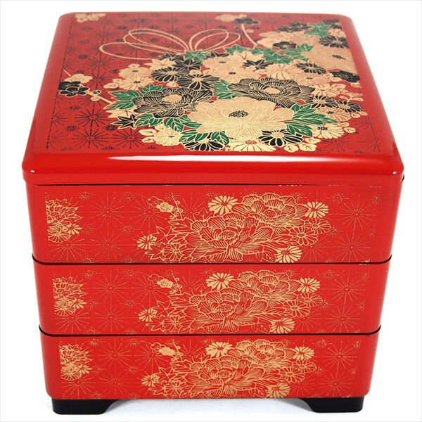 japanese lacquer stack candy lunch bento box 3 tiers red. Black Bedroom Furniture Sets. Home Design Ideas