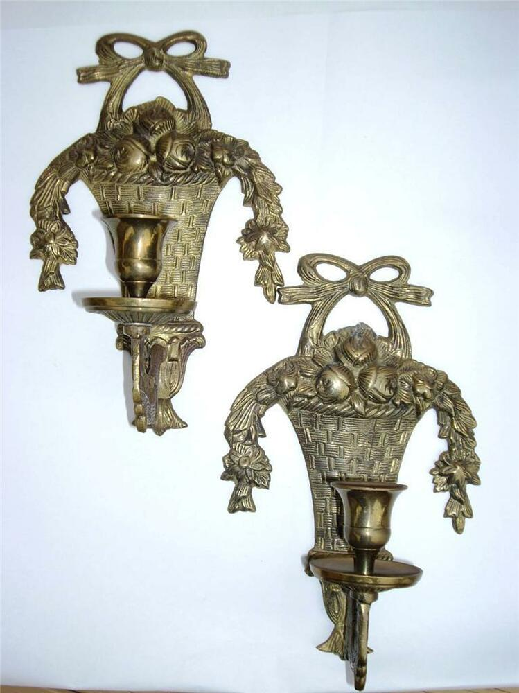 French Brass Wall Sconces : VINTAGE French Style Brass Floral Garland Basket Wall Hanging Candle Sconces eBay