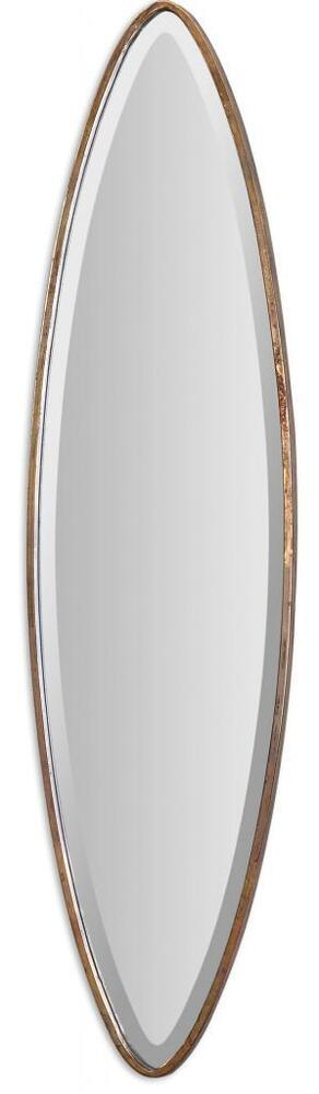 Designer 46 slim oval wall mirror extra long tall gold for Long slim mirror