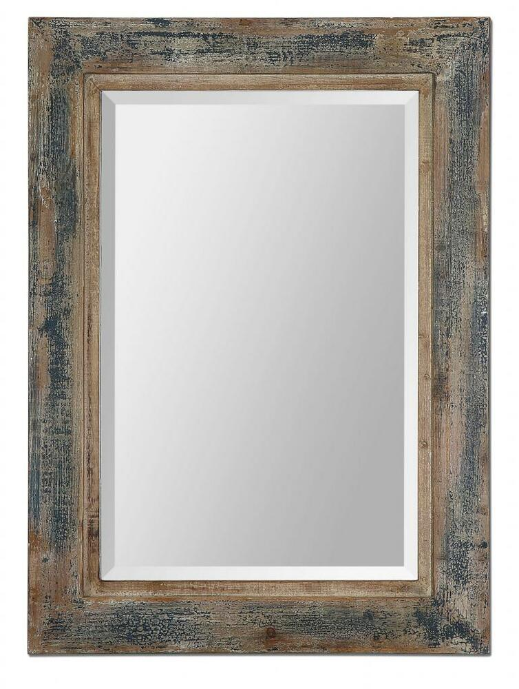 Designer 38 distressed dark blue wood wall mirror vanity for Rustic mirror
