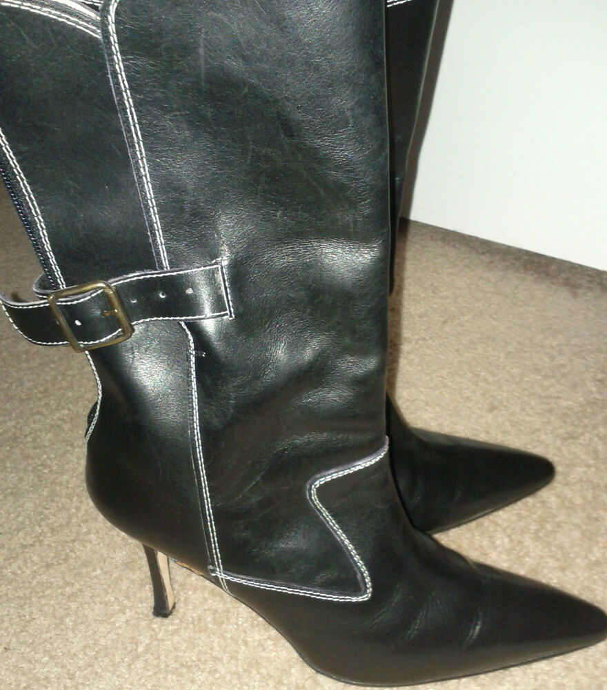 manolo blahnik calf length black leather boots with white