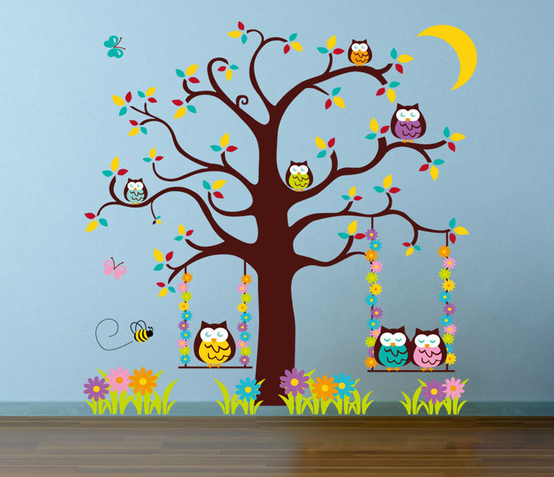 Owl scroll tree hoot iii wall decal art nursery stickers for Baby mural stickers