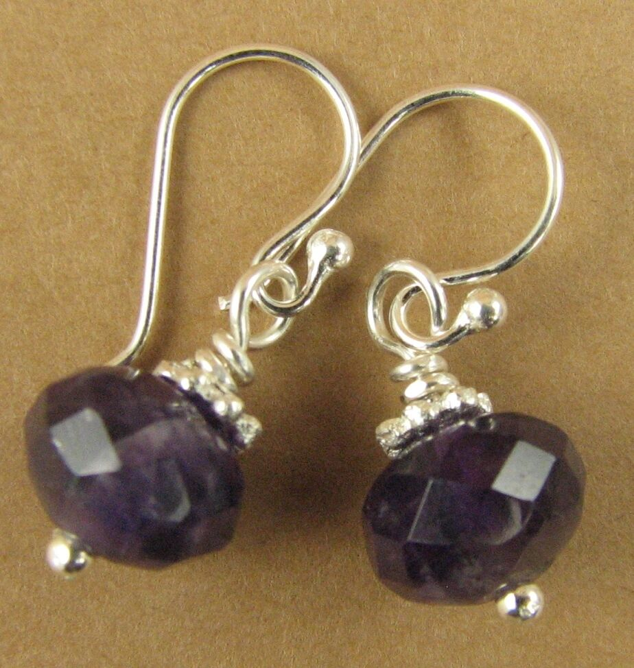 small amethyst and silver dangle earrings sterling silver