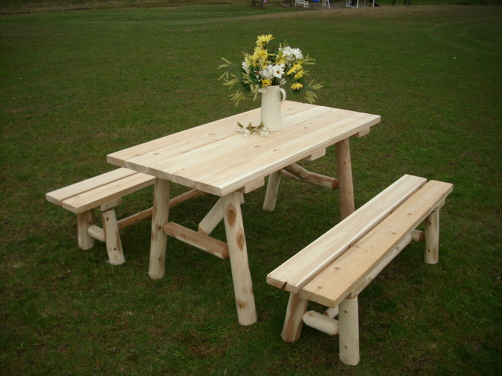 Rustic White Cedar Log 5 Foot Picnic Table With Detached
