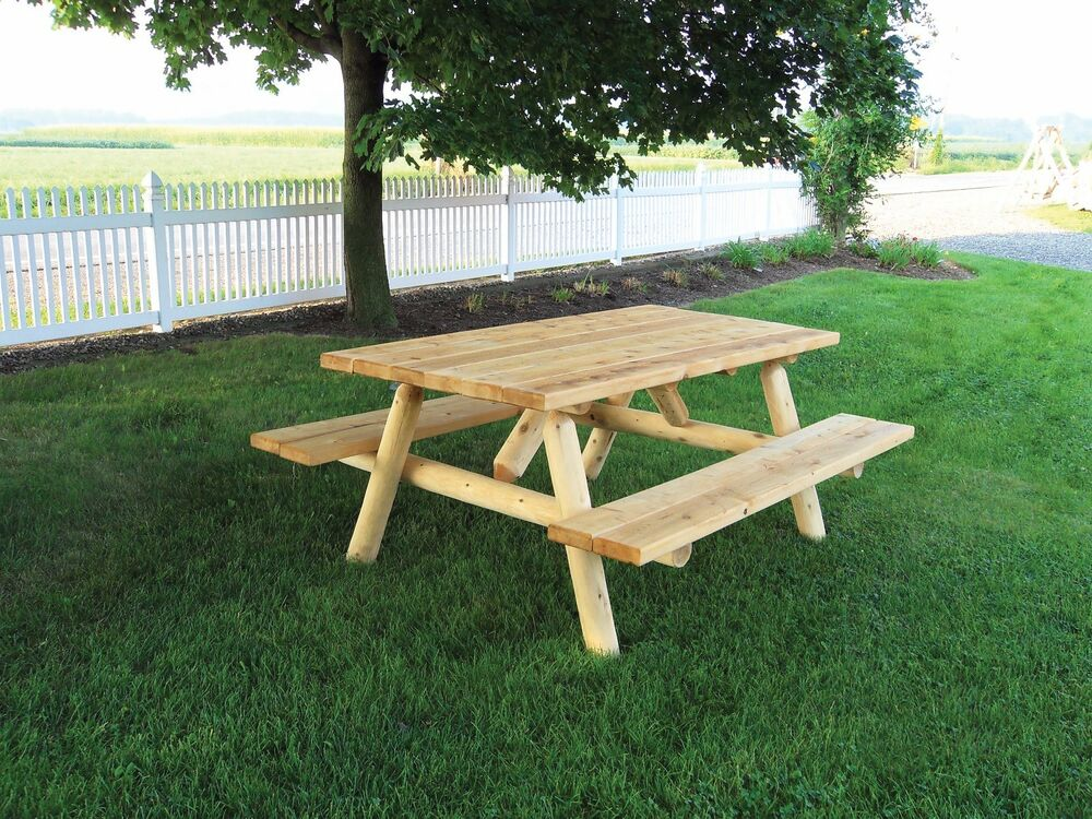 Rustic White Cedar Log 6 Foot Picnic Table With Attached