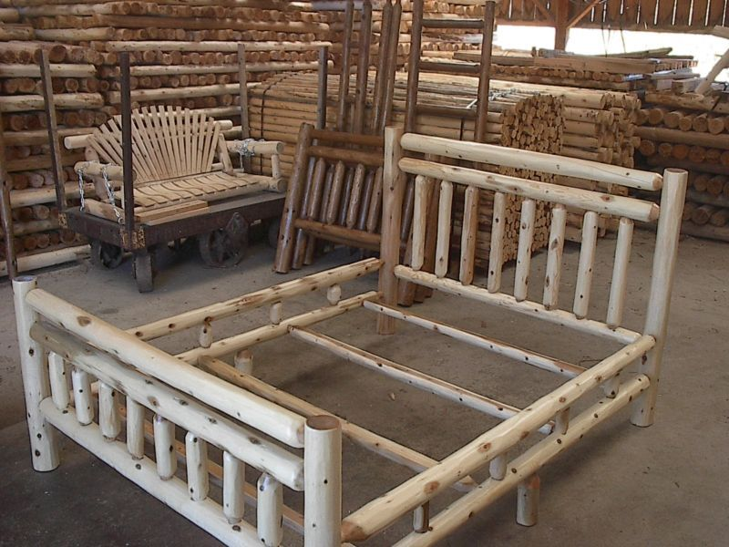 Rustic White Cedar Log Queen Size Bed Amish Made In The
