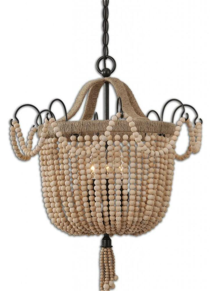 Luxe 19 wood beaded pendant chandelier rope rustic for Wood pendant chandelier