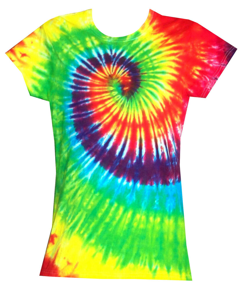 ladies tie dye t shirt bright rainbow hand dyed in the uk