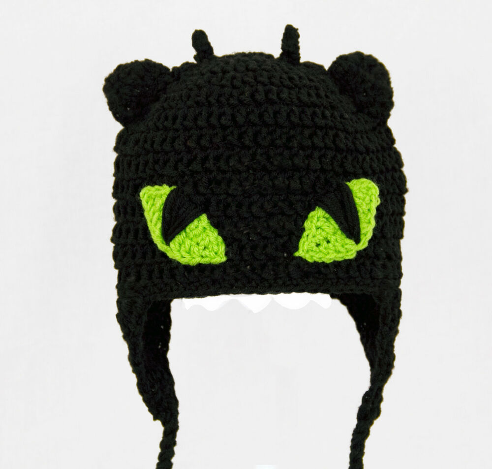 Knitting Pattern Toothless Dragon : Toothless Earflap Hat from How to Train Your Dragon, Crochet Beanie baby-adul...