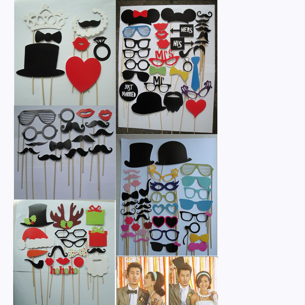 DIY Photo Booth Props Hat Mustache Lip Glasses On A Stick