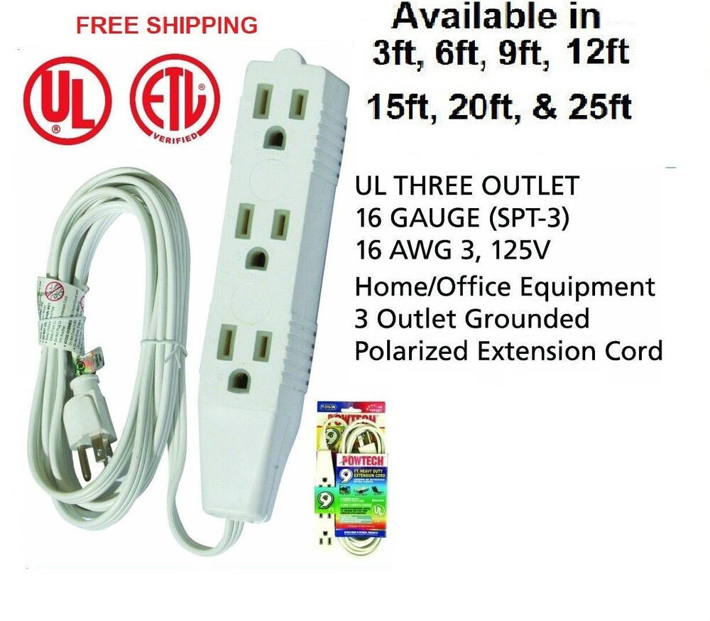 3 Outlet 3 Prong Extension Cord Ul Listed 16 Gauge Spt 3