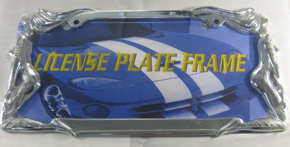 Chrome Metal Naked Lady Car Truck License Plate Tag Frame