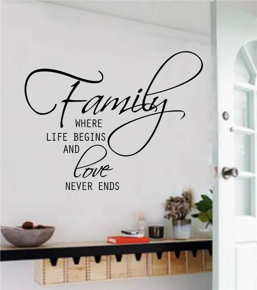family where life begins removable vinyl wall art decal word sticker home decor ebay. Black Bedroom Furniture Sets. Home Design Ideas