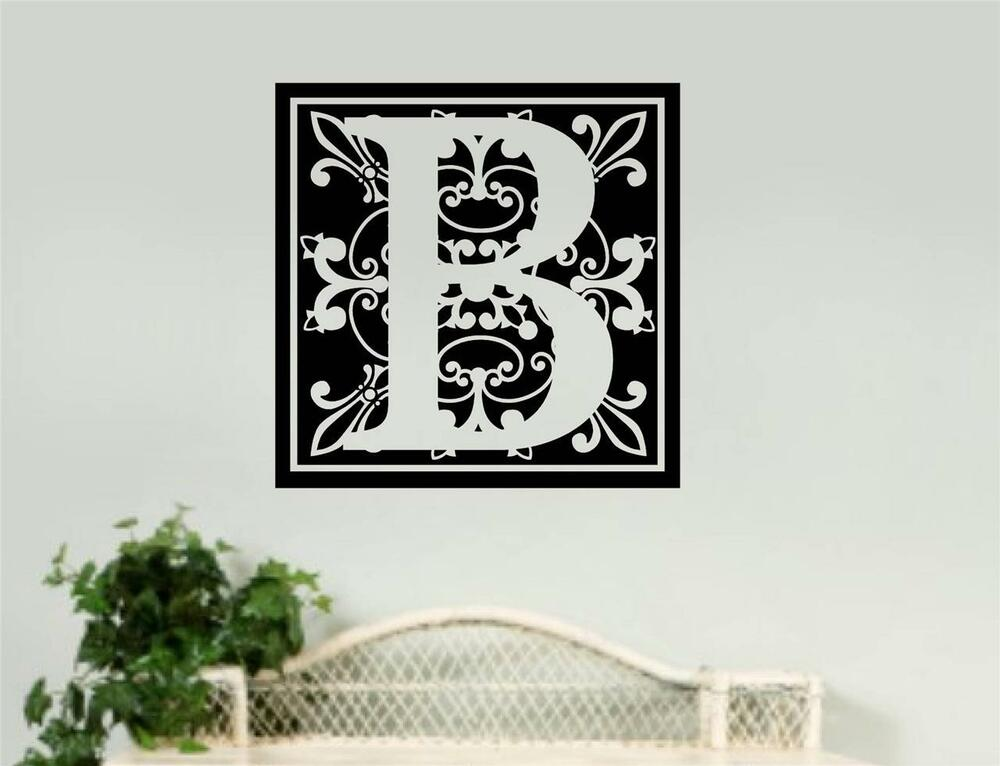 Personalized monogram removable vinyl wall art decal word for Decoration word