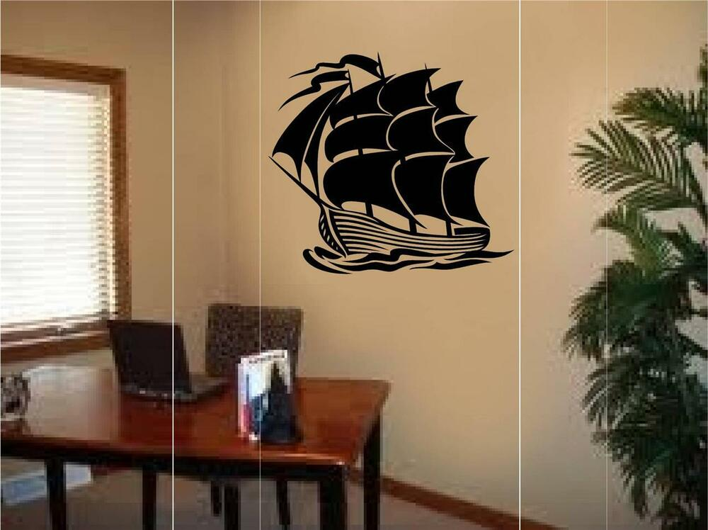 pirate ship boat vinyl wall decal sticker boy teen room. Black Bedroom Furniture Sets. Home Design Ideas