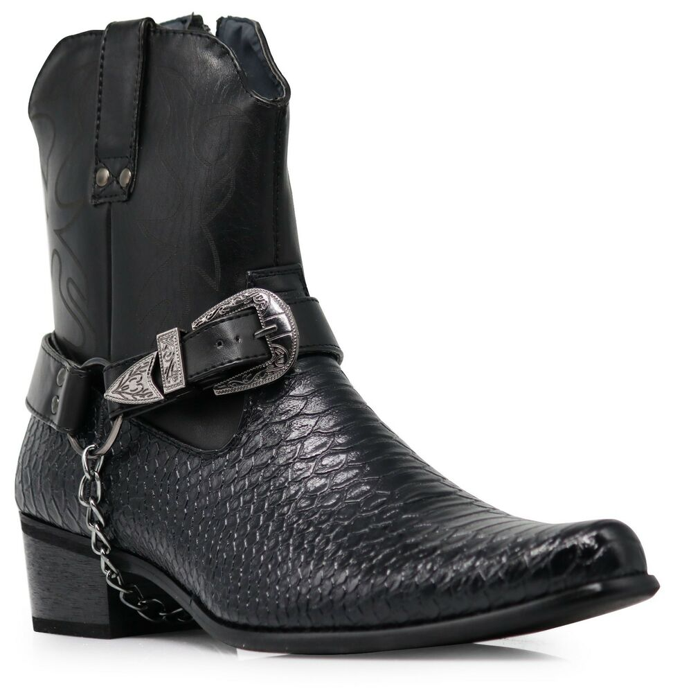 Men Black Cowboy Western Boots Shoes Leather Line Motorcycle ...