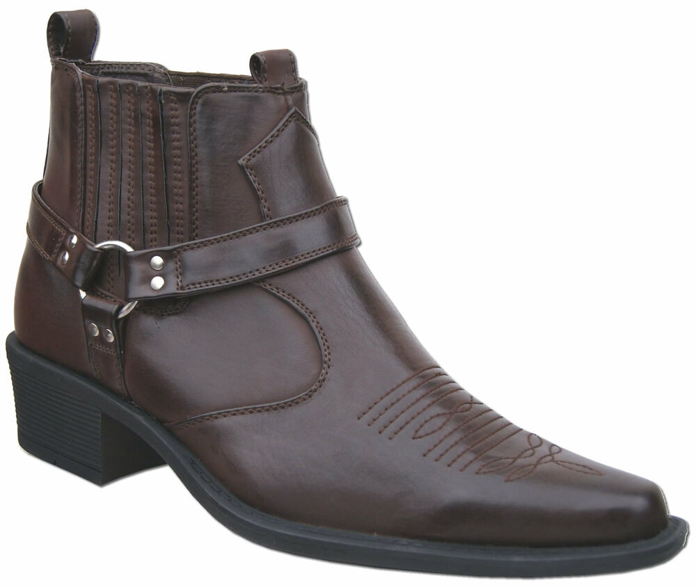mens new brown cowboy western ankle harness boots