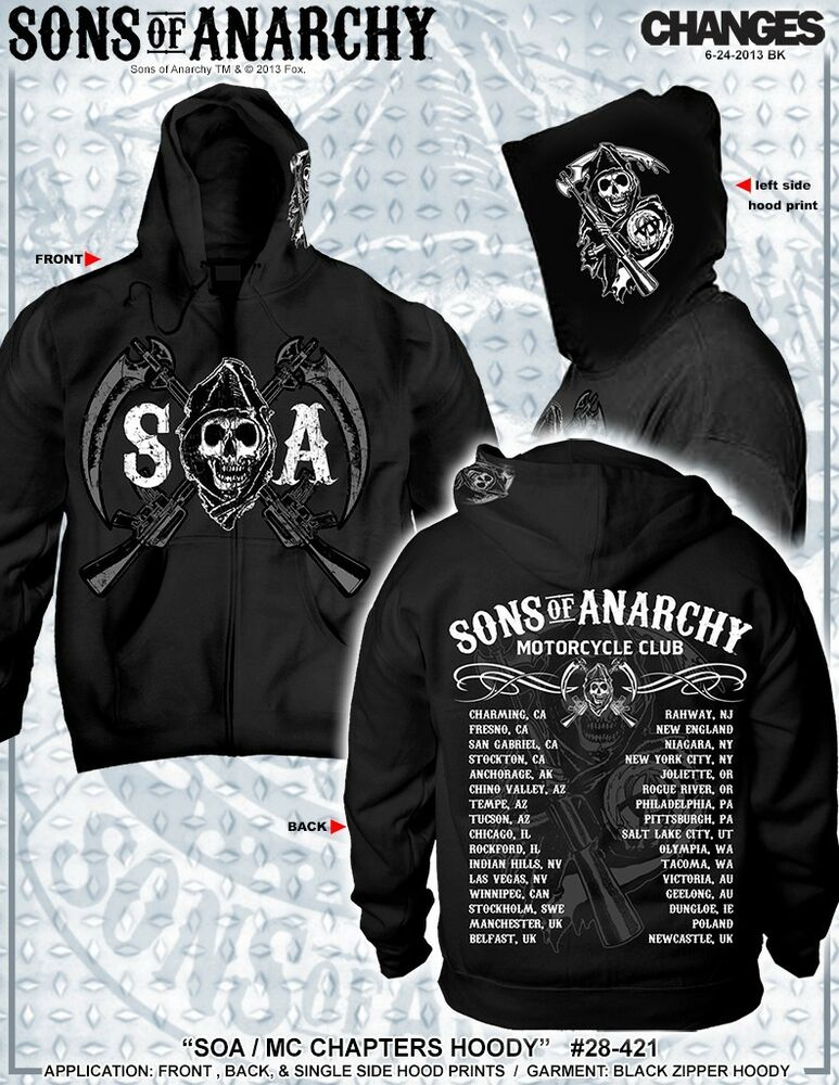 new sons of anarchy soa chapters cities samcro logo reaper biker hoodie s 3xl ebay. Black Bedroom Furniture Sets. Home Design Ideas