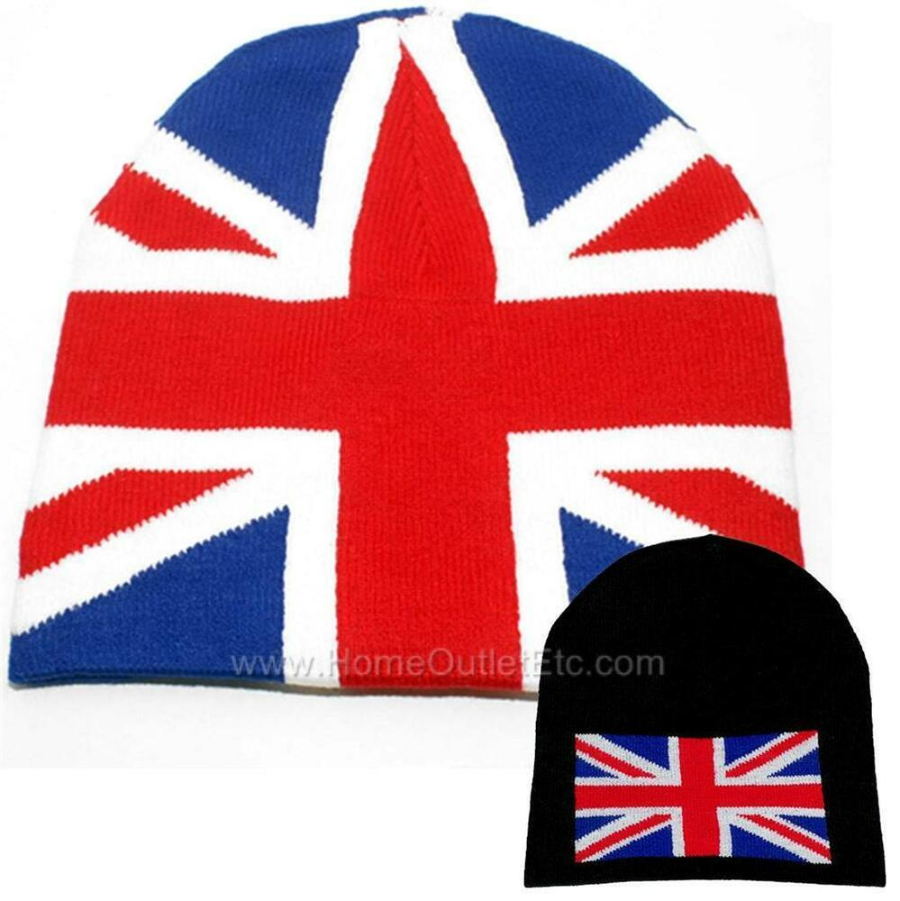Knitting Pattern For Union Jack Hat : UK Flag Knit Beanie Skull Cap Winter Ski Snow Toque Tuque Union Jack British ...