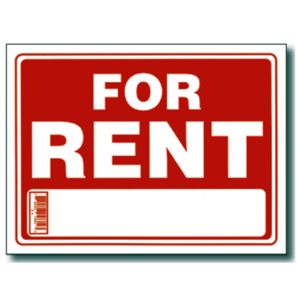 """Apartment For Rent Signs: Red & White 9 X 12 Inch Flexible Plastic """" For Rent """" Sign"""
