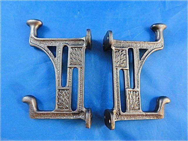 Pair beautiful arts and crafts style cast iron mackintosh for S hooks for crafts