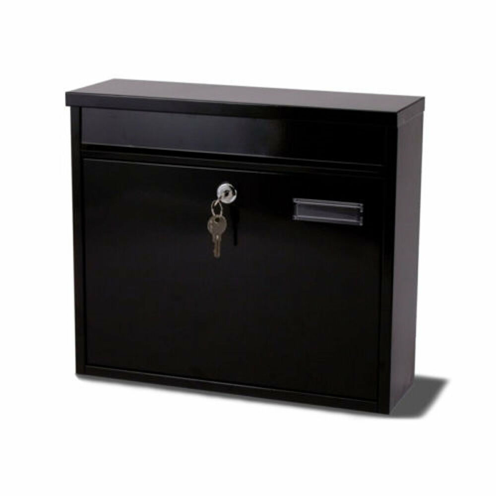 Aluminium Mail Box : G ouse black metal steel post mail letter box postbox