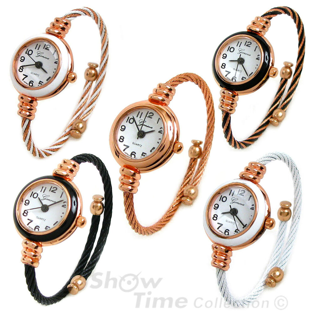 new geneva cable band rose gold accent women 39 s small size bangle watch ebay