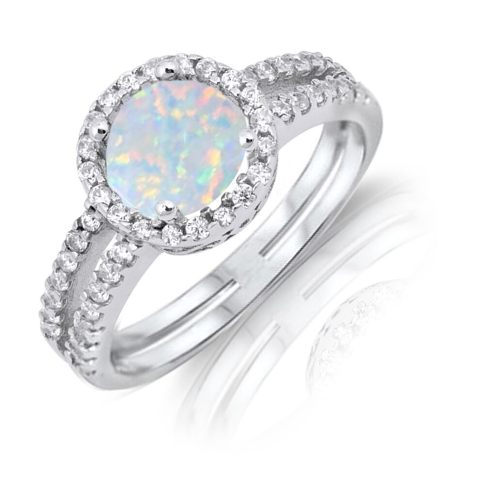 White Fire Opal Simulated Diamonds Halo Rhodium Sterling
